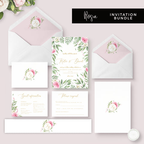 Rosa Blush Greenery Floral Print Wedding Invitation Suite
