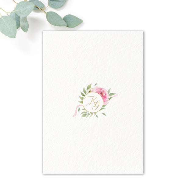 Rosa Blush Greenery Floral Print Wedding Invitation Monogram reverse design