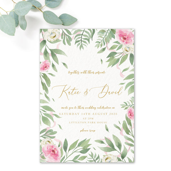 Rosa Blush Greenery Floral Print Wedding Invitation
