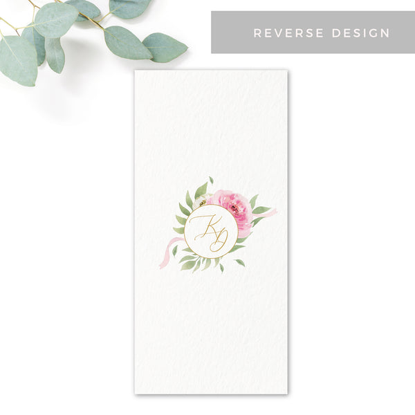 Rosa Blush Greenery Floral Print Wedding Menu Card DL Monogram reverse