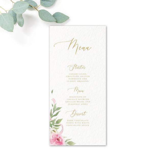 Rosa Blush Greenery Floral Print Wedding Menu Card DL