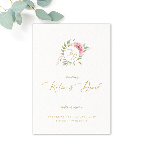Rosa Blush Greenery Floral Print Wedding Order of Service Card