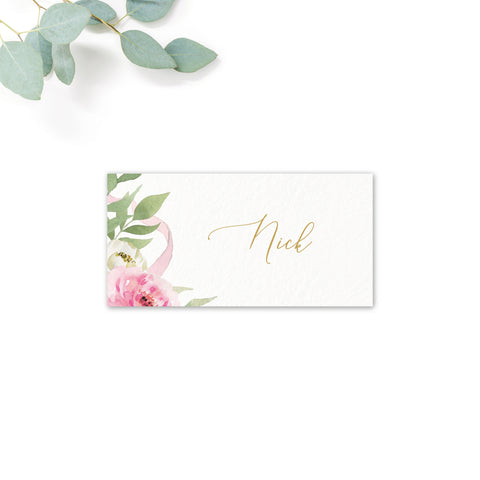 Rosa Blush Greenery Floral Print Wedding Personalised Printed Place Cards