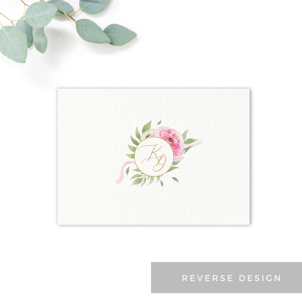 Rosa Blush Greenery Floral Print Wedding RSVP Card with monogram reverse