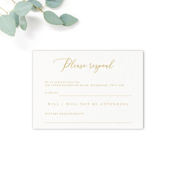 Rosa Blush Greenery Floral Print Wedding RSVP Card Gold writing