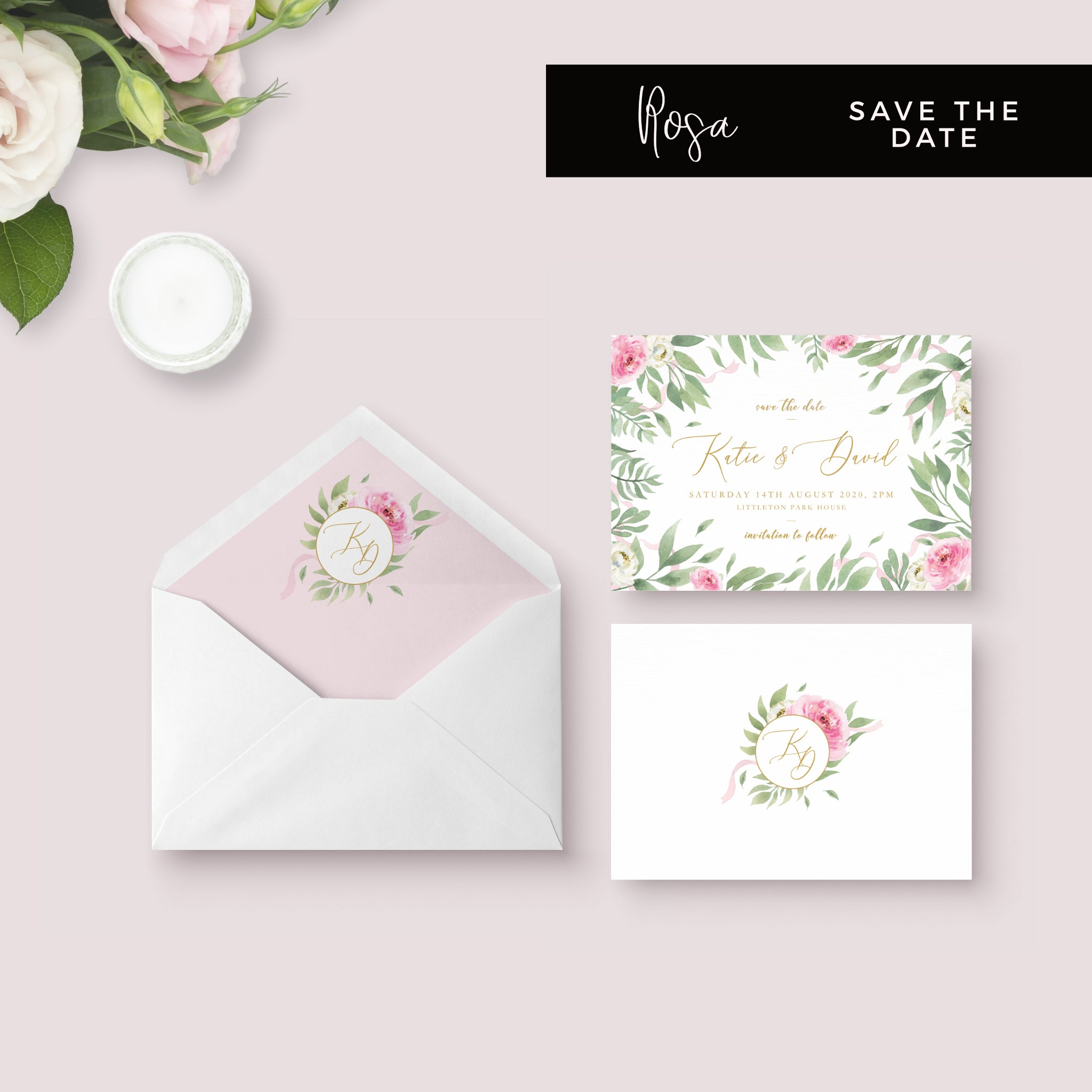 Rosa Blush Greenery Floral Print Wedding Save the Date Card with Envelope Liner
