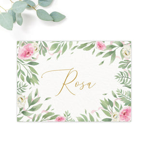Rosa Blush Greenery Floral Print Wedding Table Names Personalised