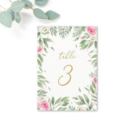 Rosa Blush Greenery Floral Print Wedding Table Numbers A6