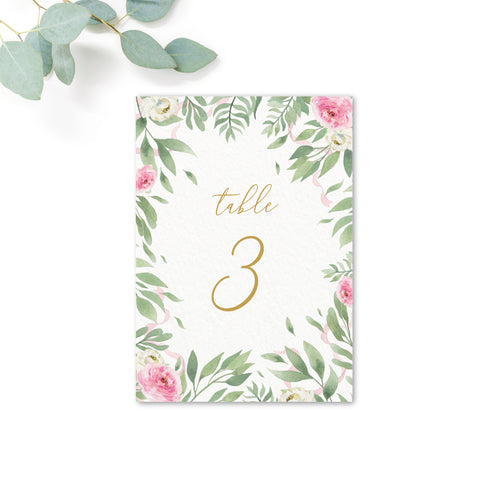 Rosa Wedding Table Numbers