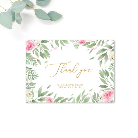 Rosa Blush Greenery Floral Print Wedding Thank You Card Personalised