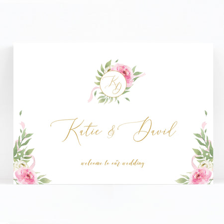 Rosa Blush Greenery Floral Print Wedding Welcome Sign