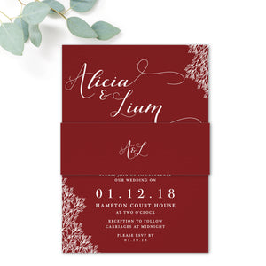 Ruby Deep Red Wedding Invitation Belly Band
