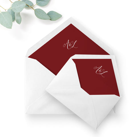 Ruby Deep Red Wedding Envelope Liners