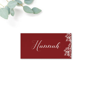 Ruby Burgundy Red Wedding Place Cards