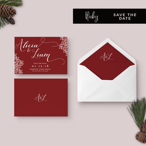 Ruby Deep Red Wedding Save the Date