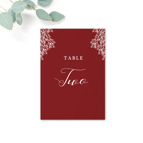 Ruby Burgundy Red Wedding Table Numbers