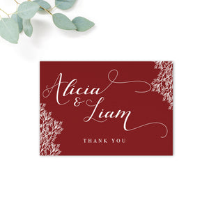 Ruby Burgundy Red Wedding Thank You Cards