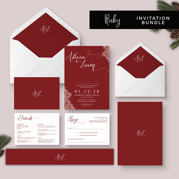 Ruby Deep Red Wedding Invitation Suite