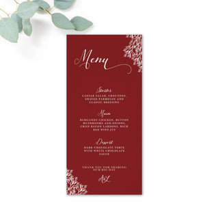 Ruby Burgundy Red Wedding Menu Cards