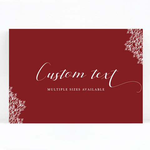 Ruby Burgundy Red Wedding Sign