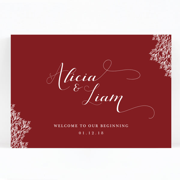 Ruby Burgundy Red Wedding Welcome Sign