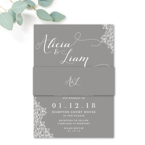 Ruby winter grey wedding invitation belly band