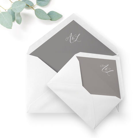 Ruby winter grey wedding envelope liners