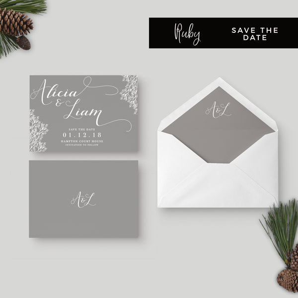 Ruby winter grey wedding save the date