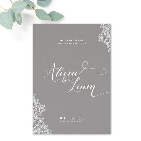 Ruby winter grey wedding order of service