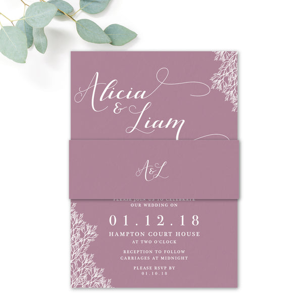 Ruby mauve wedding invitation belly band