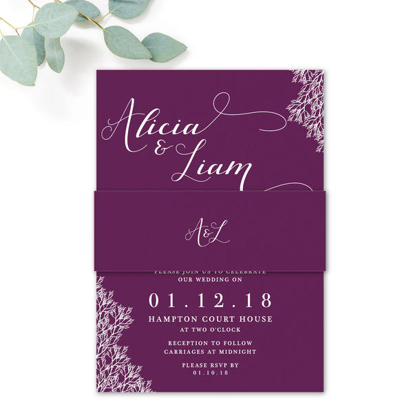 Ruby deep purple grape wedding invitation belly band