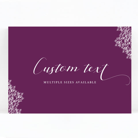 Ruby deep purple grape wedding custom sign print