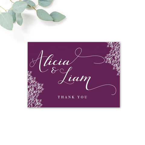 Ruby deep purple grape wedding thank you card