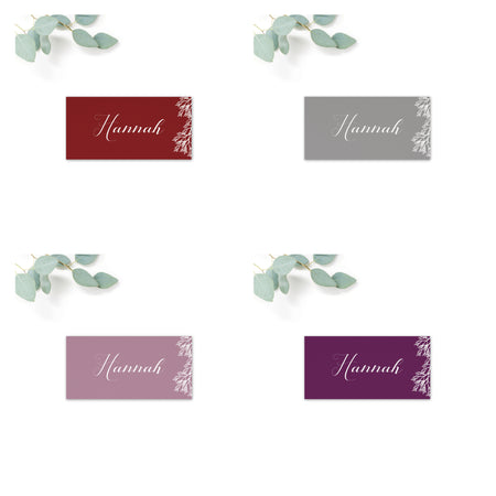 Ruby winter grey wedding place card