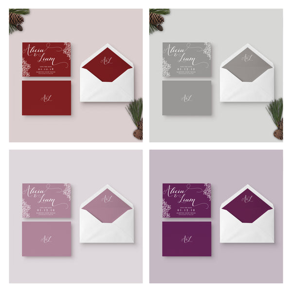 Ruby wedding save the date colour options
