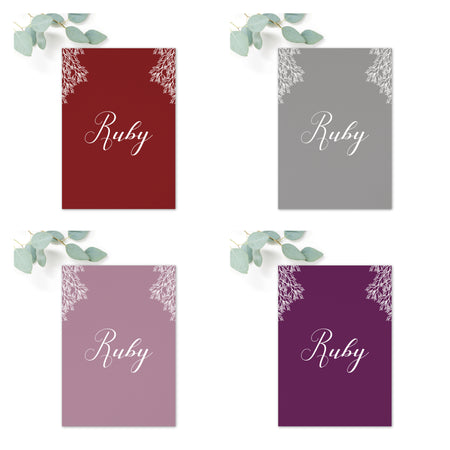 Ruby Wedding Table Names