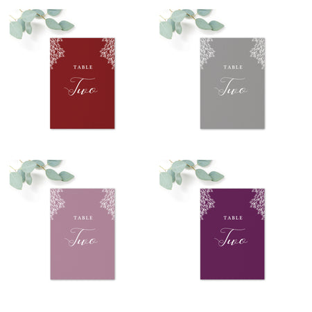 Ruby deep purple grape wedding table numbers