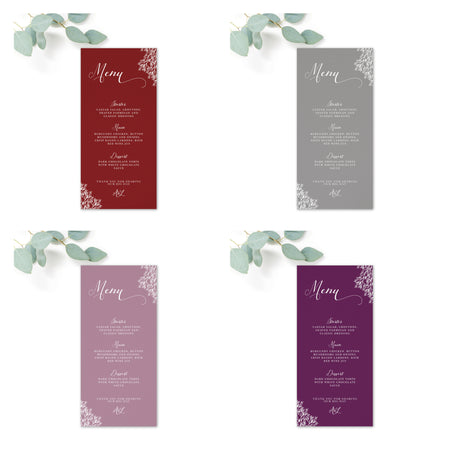 Ruby deep purple grape wedding menu card reverse