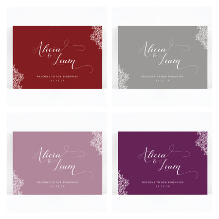 Ruby winter grey wedding welcome sign