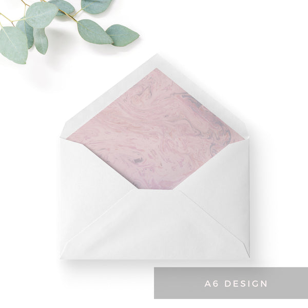 Serena Marble Blush Pink Wedding Envelope Liner A6 C6