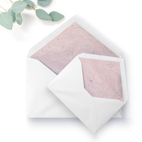 Serena Marble Blush Pink Wedding Envelope Liner