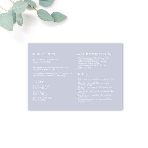Serena Serenity Blue Wedding Info Card