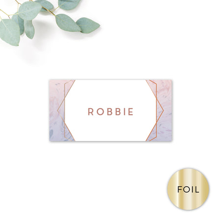 Serena Rose Gold Geometric Hexagon Blush Pink Wedding Place Card