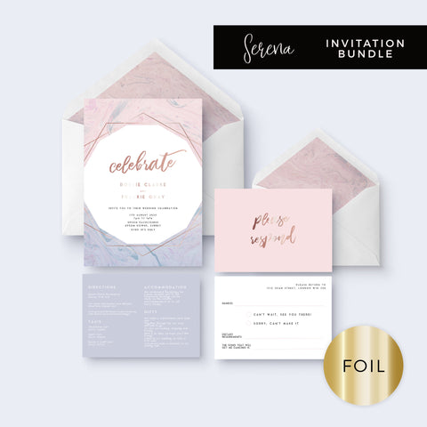 Serena Rose Gold Geometric Hexagon Blush Pink and Blue Wedding Invitation Bundle