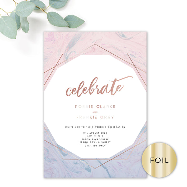 Serena Rose Gold Geometric Hexagon Blush Pink and Blue Wedding Invitation