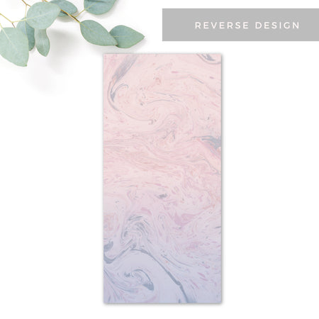 Serena Serenity Blue and Blush Pink Marble Menu Reverse