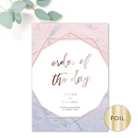 Serena Rose Gold Geometric Hexagon Blush Pink and Blue Wedding Order of the Day