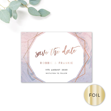 Serena Rose Gold Geometric Hexagon Pink and Blue Wedding Save the Date Reverse