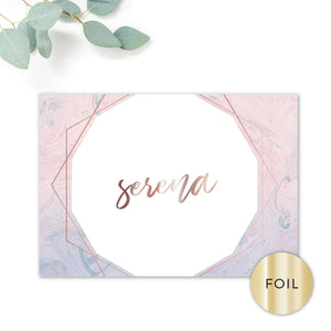 Serena Rose Gold Geometric Hexagon Blush Pink and Blue Wedding Table Names