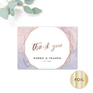 Serena Rose Gold Geometric Hexagon Blush Pink and Blue Wedding Thank You Card